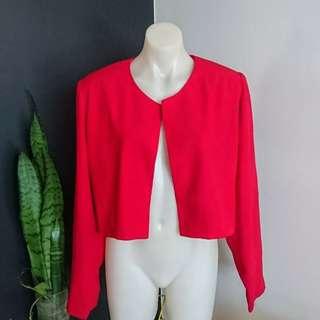 Women's size 16 Stunning scarlet red long sleeve Blazer summer Jacket - AS NEW