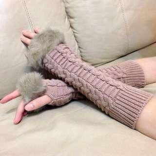 🚚 韓版冬季露指時尚保暖 針織麻花長版手套 淑女小資女