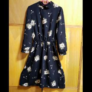 Vintage black turtle neck floral dress