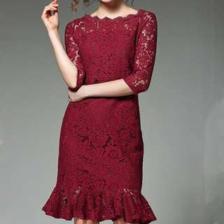 Charming Fishtail Floral Lace Dress - ON/MKC121404