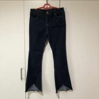 Dark blue ripped bottom bootcut jeans #15off
