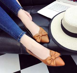 Solid Coloured Butterfly Ribbon Leather Pointy Flats