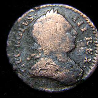 1773年大英帝國不列顛尼亞坐像1/2便士(Penny)老銅幣(英皇佐治三世像)
