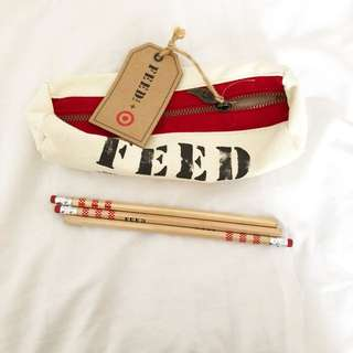 Brand new feed USA pencil box with 3 pencil