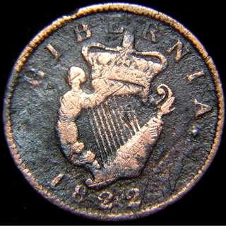1822年大英帝國愛爾蘭(Ireland)皇家豎琴徽1/2便士(Penny)老銅幣(英皇佐治四世像)