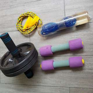 Abs roller wheen, dumbell, skippinh rope