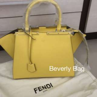 jual tas Fendi 3jours with Tail LEATHER MIRROR - yellow
