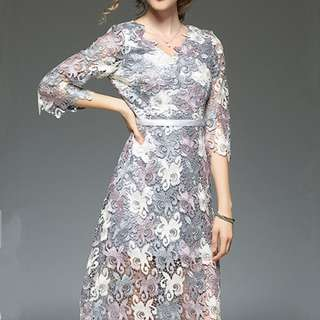 Spring Fashion V-Neck Floral Hollow Out Lace Dress - ON/MKC121412