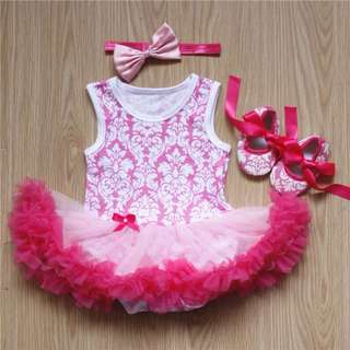Tutu Romper Pink + shoes + headband