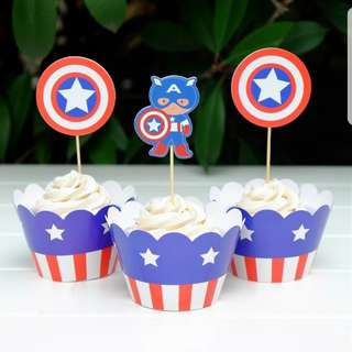 Captain America Cupcake Cup Wrapper and Cupcake Topper