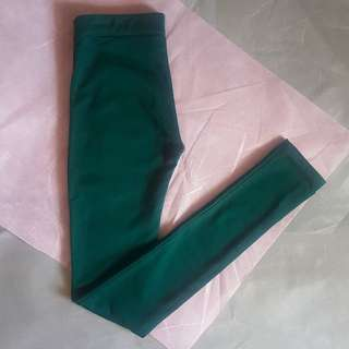 Bershka Leggings with Back Pocket (Dark Green)