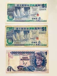 Old Ancient Malaysia Ringgit RM1 Singapore $1 dollar notes