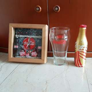 Collectible working coke clock , glass and Olympic gold bottle