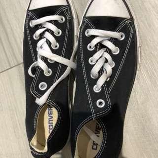 Converse經典6碼 黑色冇布鞋