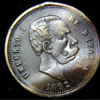 1892年意大利王國(Kingdom of Italy)意皇翁貝托一世肖像紀念銅章 (未使用)