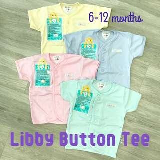 6-12m Libby Short Sleeve button Tee Top Baby Infant