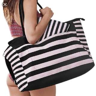 Like New Victoria's Secret pink and black striped Tote bag