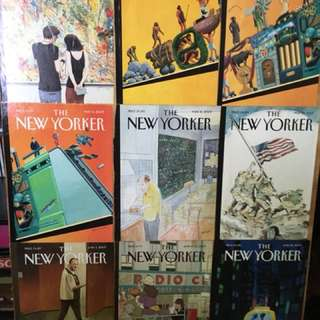 Hand made New Yorker montage. Original covers mounted on wood.