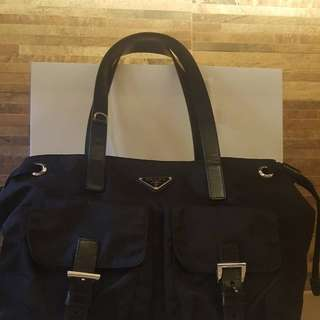 Authentic used Prada nylon bag with card and paper bag in excellent condition