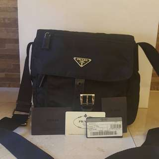 Authentic used Prada Tessuto crossbag with cards paper bag