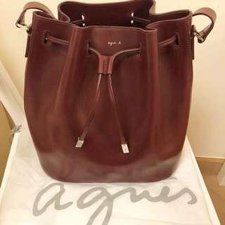 Agnes B 水桶袋 (酒紅色)