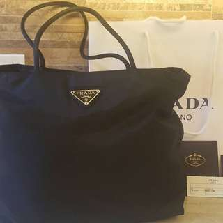 Authentic used Prada Tessuto nylon bag with cards and paper bag