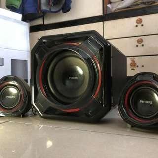 Philips spa-5300 2.1 音響 9成新 紅黑色 100w極強低音 平價打機首選