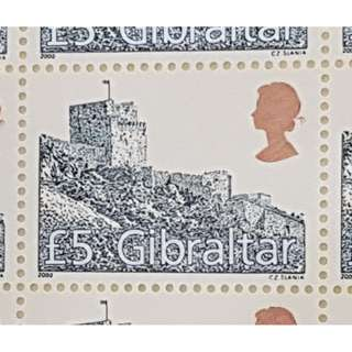 2000 GIBRALTAR £5 Moorish Castle Definitive Stamp (Whole Sheet)