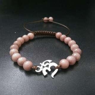 Ohm Mantra Women Men Shamballa Agate Macrame Adjustable Straps Bracelet, Gemstone Stone Healing Yoga Power Stone Shamballa Bracelet Valentine's Day Gift Couple Gifts
