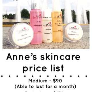 Anne's skincare