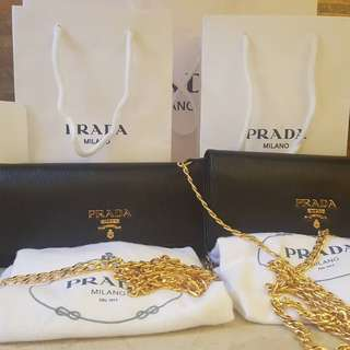 Opened for pre order Brand new Prada long wallet with chain diferrent color
