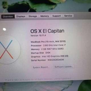 Macbook Pro intel Core I7 mulus boleh tuker tambah