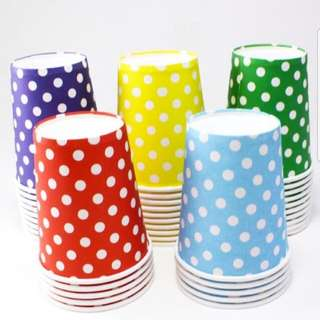 New Set of 20 Red & Green Polka Dot Paper Cups