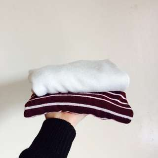 Cotton On White & Maroon Stripes Cropped Longsleeves