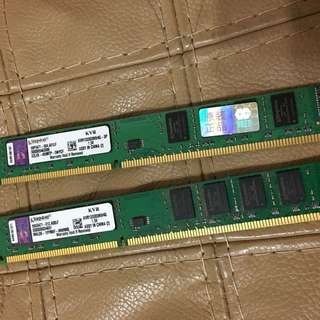 Ram 記憶體 4Gx2 DDR3 Kingston