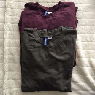 H&M red/burgundy and camo green jumper sweaters