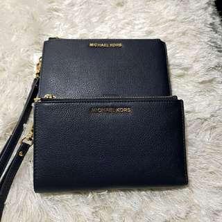 Michael Kors Adele Double Zip Wristlet Wallet Admiral
