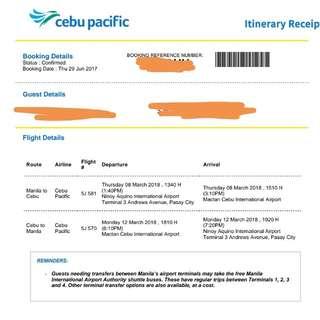 Round Trip Ticket Manila - Cebu - Manila