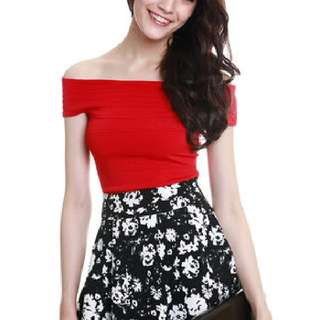 mds off shoulder red top