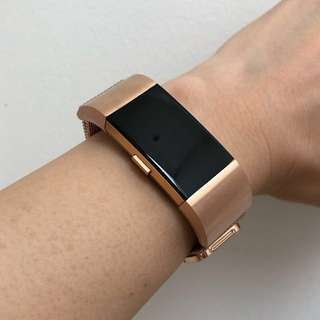 Fitbit Charge 2 Rose Gold Milanese Stainless Steel Mesh Straps