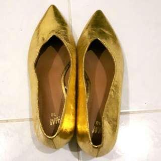 H&M Gold Kitten Heels