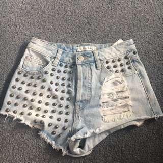 Mink Pink Stud Denim Sexy Shorts Size 6