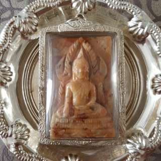 Phra Chinnarat (Arahants Relics) from Kruba Duang Dee, in pure silver casing.