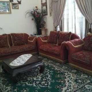 Sofa 123 dan bufet jati putih