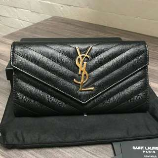 Excellent YSL wallet black cav GHW 2017 sz 19 cm (box db yearcard care ins) - 8,8jta