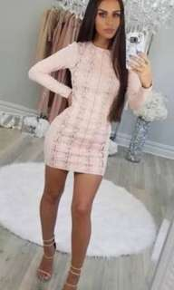 Carli Bybel x missguided faux suede pink eyelet dress size 10