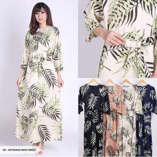Dress Mitsunia Leaves Ribbon Maxi