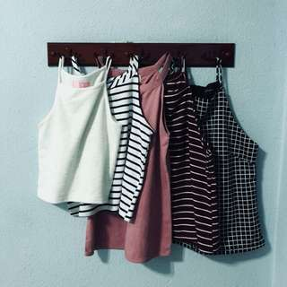 halter tops (free ones given)