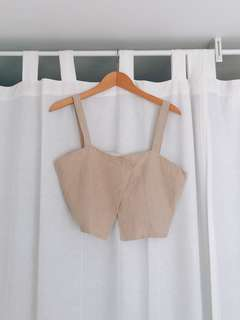 Linen Beige Cropped Top (Good for layering!)