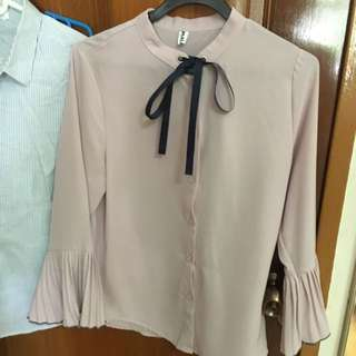 Flared Sleeves Pink Button-up Shirt